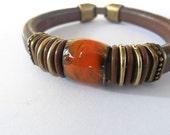 Orange Brown Licorice Leather Bracelet