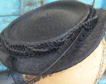 Vintage 1940s Gimbel Brother's Black Hat with Netting