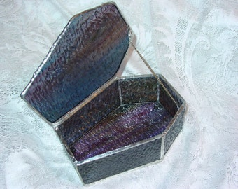 Rippled Glass Coffin-Style Jewelry Box
