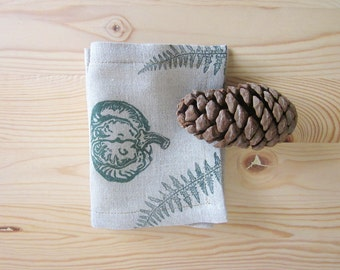 Decorative Table cloth on pumpkins, handprinted lino stamp, linen cloth