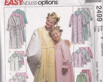 McCalls 2499 Vintage Pattern Girls pajamas and Robe Size X Small and Small