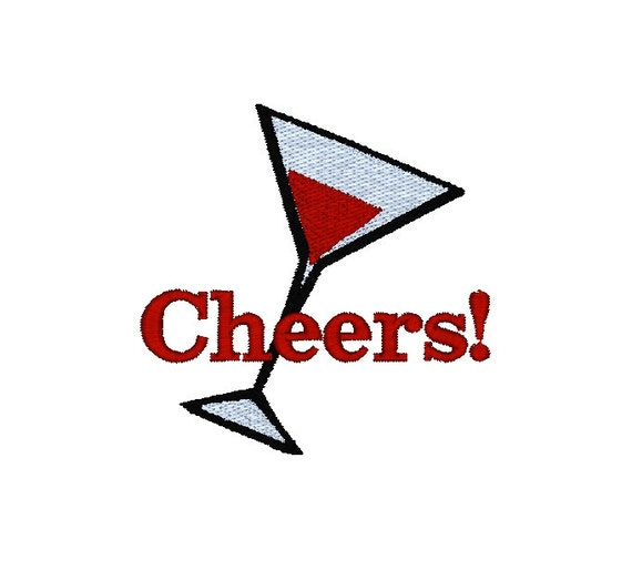 Cheers Martini Drink Machine Embroidery Design / cocktail