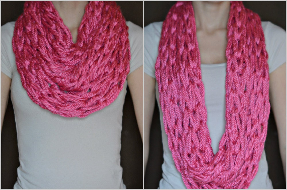Arm Knitting Infinity Scarf : Arm knit infinity scarf bubble gum by jecadorable on etsy