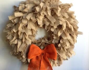 """26"""", Fall Wreath, Fall Burlap Wreath, Tan Wreath, Orange Wreath, Autumn Wreath"""