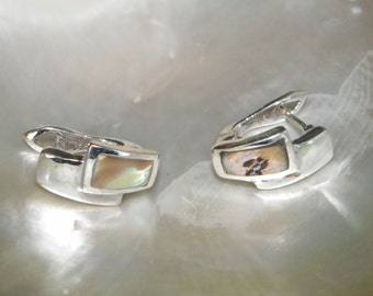 Handcrafted Sterling Silver.925 Earrings With Abalone Shell Mother of Pearl