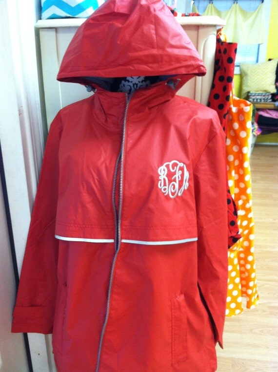 RED Monogrammed Rain Jacket Monogrammed Rain by TheCrazyDaisyStore