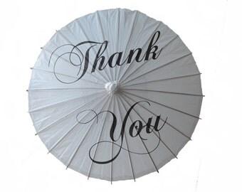 Thank You Wedding Paper Parasol - Wedding Photo Prop - Sun Shade - Chinese Paper Parasol - Oriental Umbrella - Thank You Parasol - Vintage