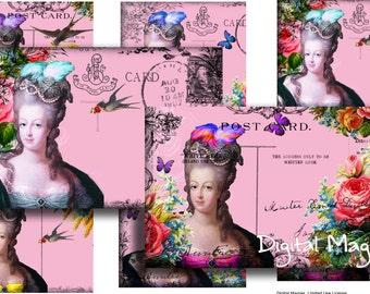 Dear Marie - postcards - digital collage sheet - 6x4 ich - printable download - marie antoinette