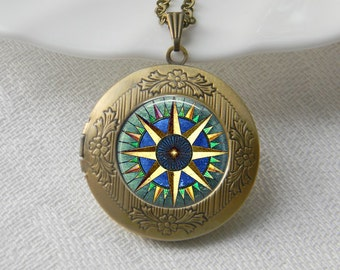Compass Locket Necklace Art Photo Print Jewelry Locket Pendant Gift For Her (016)
