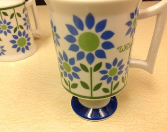 Three Royal Crown Mugs -  Welcome Pattern by Pia Pedestal Coffee Mugs Vintage Mugs Vintage Cups
