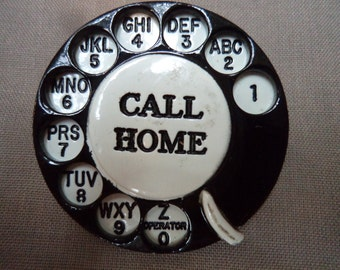 Vintage Signed Danecraft  Black/White Call Home Telephone Dial Brooch/Pin