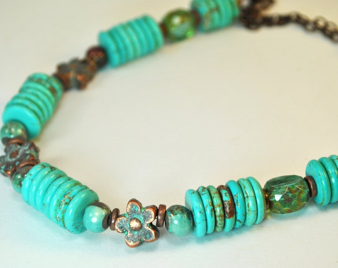 Southwestern Turquoise, teal Czech glass, Greek Mykonos copper flowers necklace set