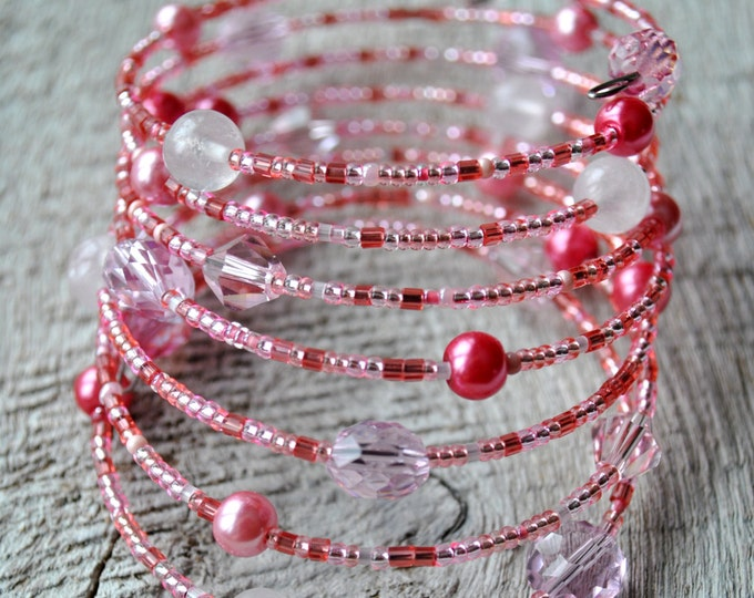 Multi Strand Pink Bracelet with pearls and crystals Memory wire bracelet Dangle bracelet