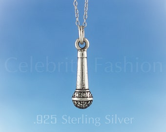 Microphone : 925 Sterling Silver 3D charm / Necklace