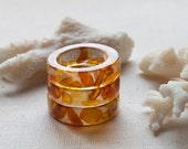 Crystal Eco Resin Band Ring Natural Baltic Amber: Pick a size