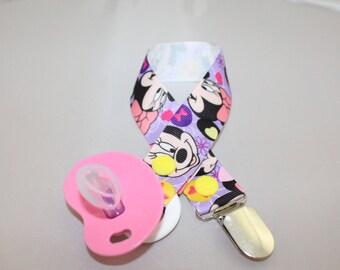 Purple Minnie Mouse Pacifier Clip