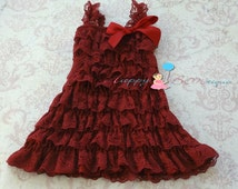 Baby's 1st Christmas dress,Baby Girl's Burgundy Red Lace Dress,ruffle dress,Birthday outfit, fower girl's dress,Burgundy dress,Holiday dress