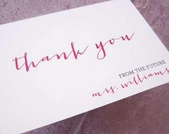"""30 From The Future Mrs Personalized """"bride to be"""" Bridal Shower Casual Script Thank You Note Card"""