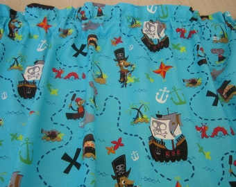 """Pirate Theme Curtain Valance 42"""" x 15"""" in 100% Cotton - Handmade New."""