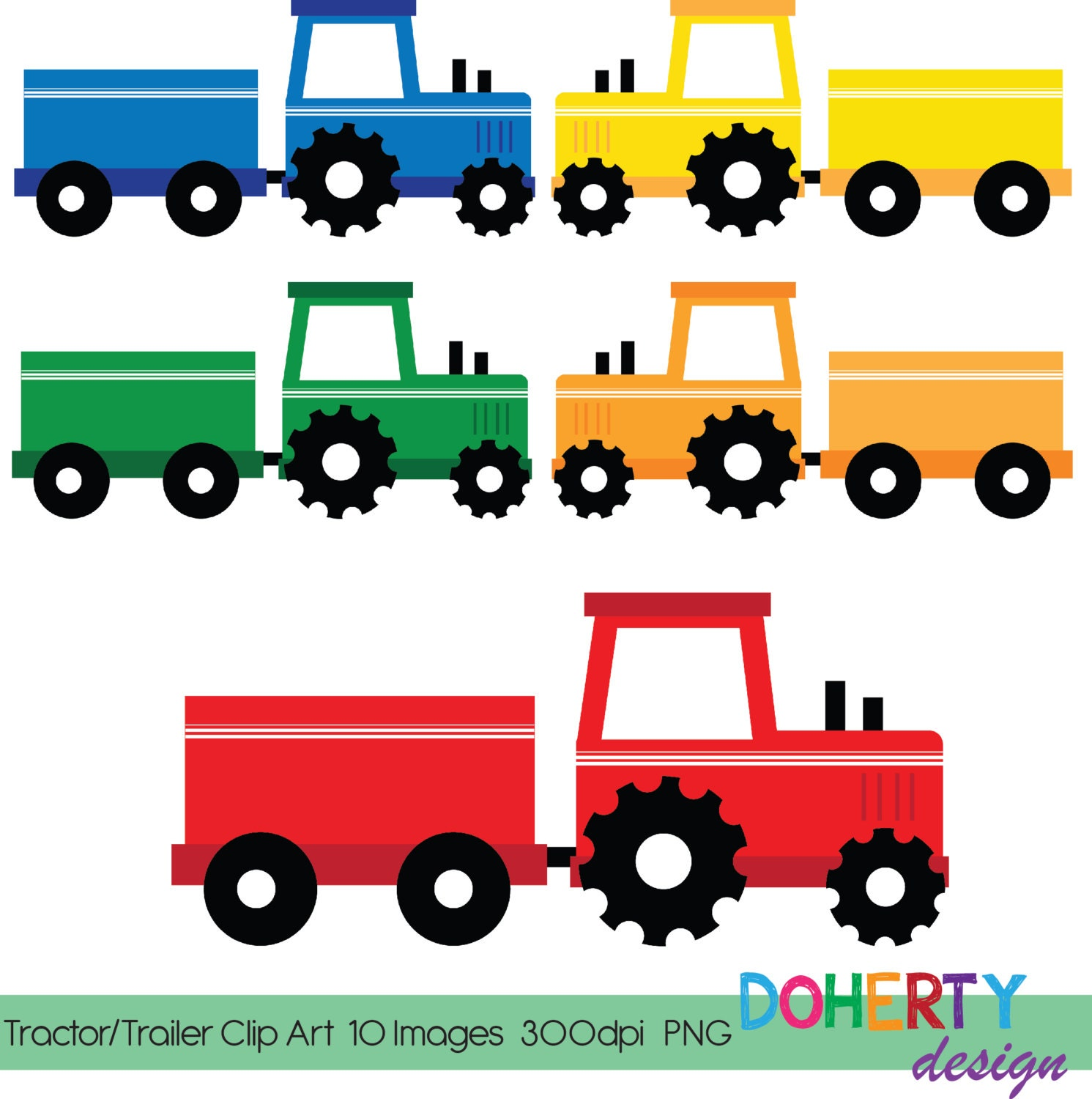Tractor Trailer Clip Art : Instant download tractor trailer frame clip art