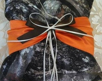 Camoflauge Ring bearer pillow with blaze orange