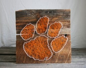 "String Art 12""x12"" Clemson Tigers Orange and White Logo on Reclaimed Wood"