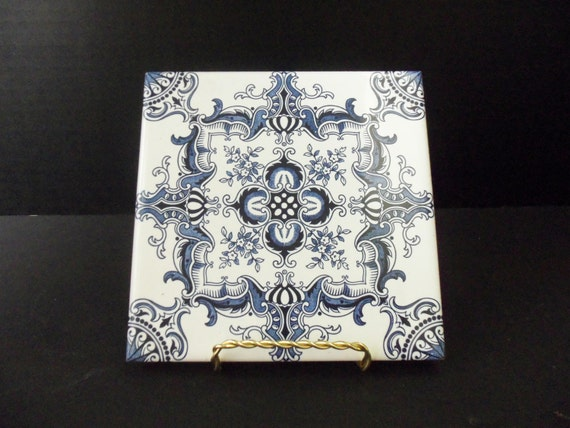 Decorative Ceramic Tile Trivet Cobalt Blue And White Made In