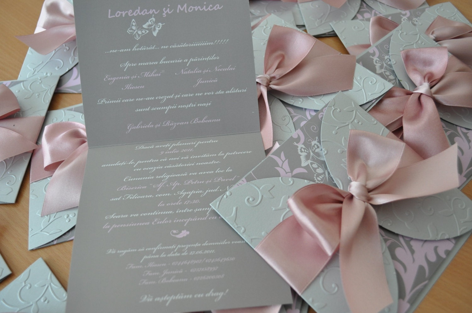 Dusty Rose And Silver Wedding Invitation Tied By InvitatiiCouture