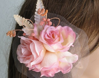 Pink Wedding Headpiece  Fascinator Wedding Hair Clip  Wedding Accessory Vail