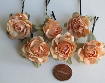 Set of 6 Flower Hair Pins - Wedding Hair Bobby Pins - Wedding Accessory-Bridal Flower Bobby Pins