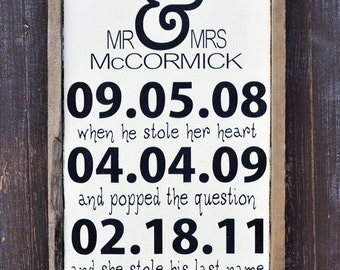 Custom Wedding Sign, Personalized Engagement Gift,Wedding Gift, Engagement Present, Bridal Shower Gift