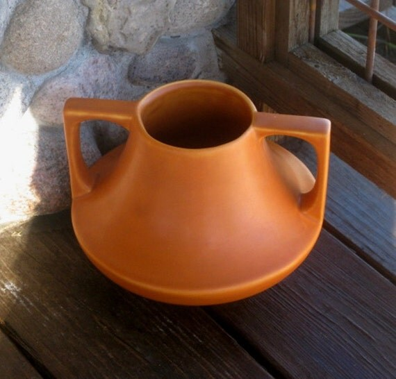 Haeger pottery eve vase arts and crafts design pumpkin matte for Arts and crafts pottery makers