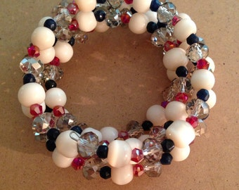 Red, White & Blue  Wrap Bracelet