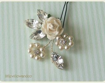 Flora Pearl & Crystal Hair Pin, Pearl Hair Accessory, Floral Hair Pin, Wedding Hair Pins, Bridesmaids Headdress, Flower Girl Pins, Hair Pin
