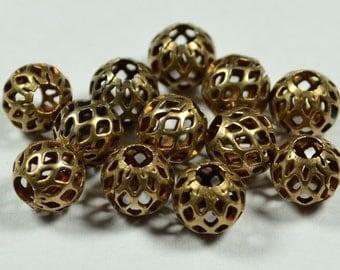 24 Pieces Antique Bronze 8 mm Filigree Bead
