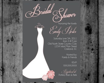 Grey and Pink Bridal Gown Shower Printable Invitation