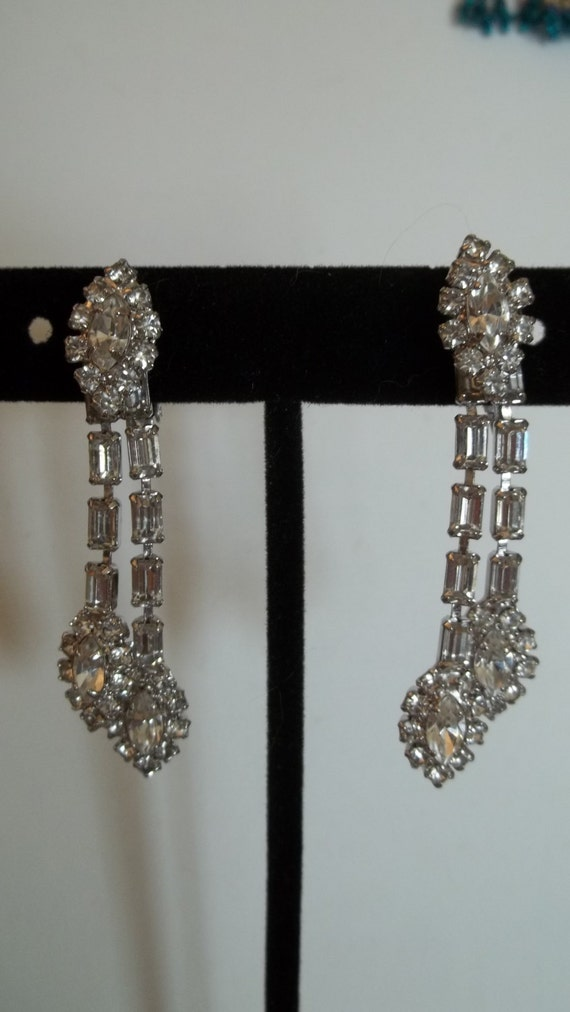 1950's Rhinestone dangling earrings, clip-ons