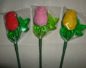 1 dz Hard Candy Two Tone Rose Shaped Lollipop Wedding Favors w/ Personalized Back Labels
