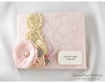 READY TO SHIP Wedding Lace Guest Book Custom Bridal Flower Brooch Guest Books Personalized in Blush Pale Pink, Tan and Champagne