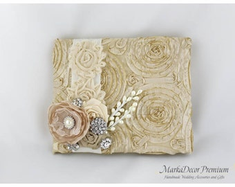 READY TO SHIP Wedding Guest Book Custom Made Guest Book in Champagne, Ivory and Tan