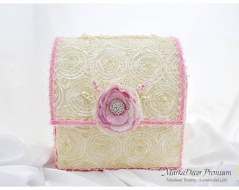 Lace Card Box / Wedding Box / Money Card Box / Gift Holder in Pink and Ivory with a Beautiful Handmade Flower and my Stamens' Accents