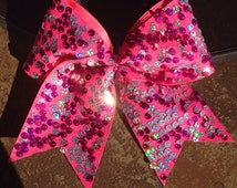 Hot Pink and Silver Reversible Sequin Cheerleading Bow