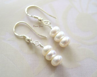 White Freshwater Pearl Earrings, Bridesmaid Gift