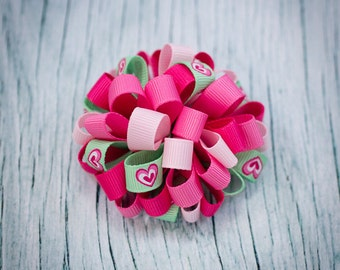 Pinks & Mint Hearts Loopy Puff Bow