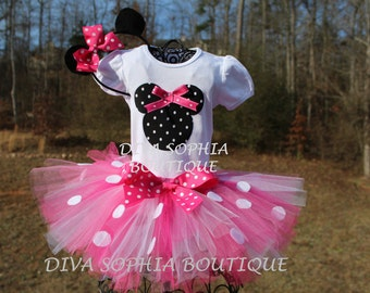 Pink Minnie Mouse Tutu Set - Birthday Set