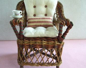 """Vintage wicker doll chair handmade feed sack & red stripe ticking pillows lovely patina for 13"""" or smaller dolls Waldorf Effner Raggedy"""