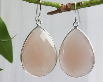 Large Sand Chalcedony Silver  - Dangle Earrings - Stone Earrings - Drop Earrings - Birthstone Earrings - Gemstone Jewelry