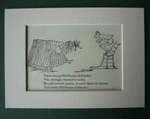 1950 Vintage Edward Lear Print - Vintage Print - Victorian Print - Nonsense - Black & White - Limerick - Poetry - Poem - Rhodes - Toads