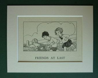 1920s Vintage Seaside Print - Friends - Art Deco Print - Friendship - Beach - Summer - Children's Illustration - Matted Print - Antique - S