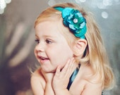 Teal Turquoise Headband ,Silk flower  Double Rosettes Headband for girls toddlers babies